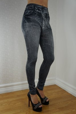 Leopard Belt Jeans Print leggings