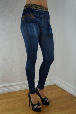 Leopard Waist Blue Leggings