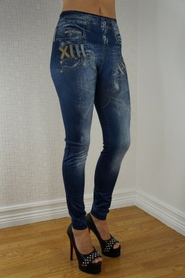 Double Fake Pockets Blue Jeans Print Leggings Gold