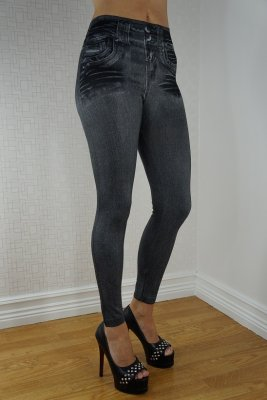Black Fake Pocket Jeans Print Leggings
