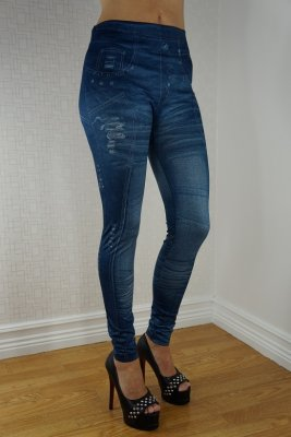 Blue Cool Jeans Print Leggings
