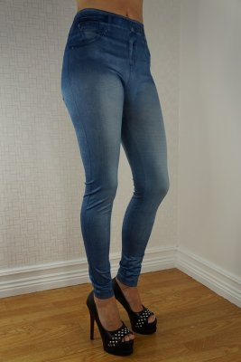 Light Blue Jeans Print Leggings
