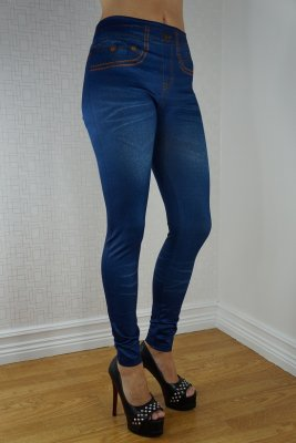 Fake Pocket Blue Jeans Print Legging