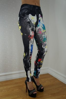 Black Jeans Print Color Spots Leggings