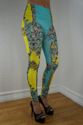 Blue Yellow Tattoo Leggings