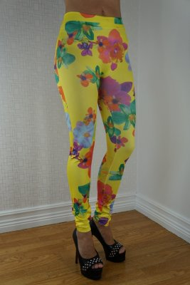 Color Flowers Yellow Leggings