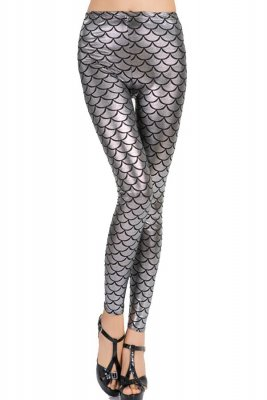 Mermaid Shiny Silver Leggings