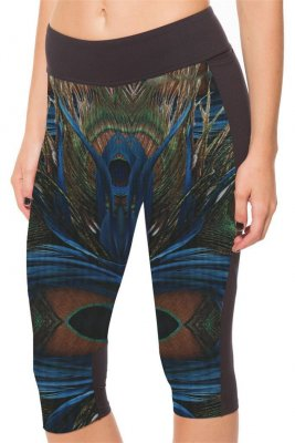 Peacock feathers High Waist With Side Pocket Phone Capri Pants