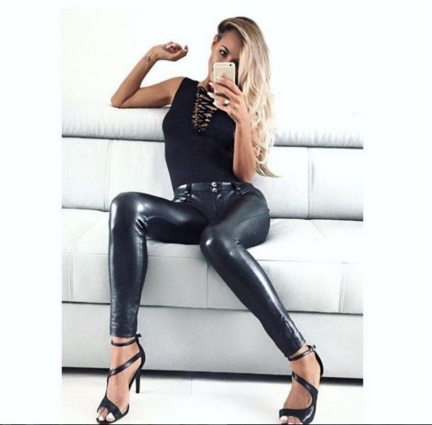 c9b3929ab83dd ... Pu Leather Low Waist Leggings Woman Sexy Hip Push Up Pants Gothic  Leggings Jeggings ...